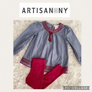 Embroidered boho tunic girls matching set